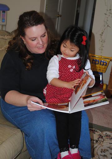 Shari & Elizabeth reading Mommy's recipe!