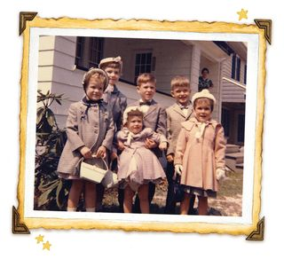 Jo Ann, siblings and cousins...all dressed up!