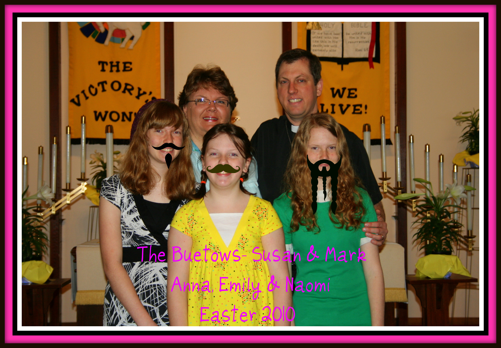 The Buetows at Easter...with moustaches!