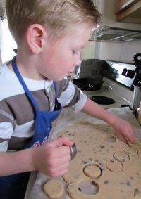 Alex making Cinnamon Raisin Biscuits
