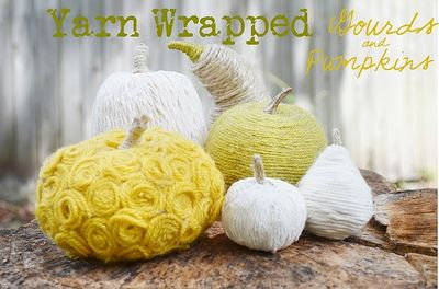 Yarn-wrapped pumpkins!