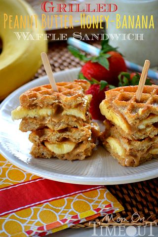 Grilled-peanut-butter-honey-banana-waffle-sandwich-recipe
