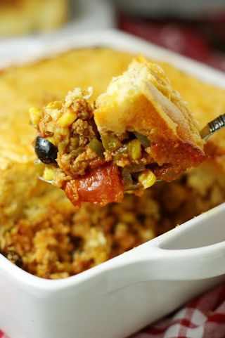Tamale Pie Casserole from The Kitchen is my Playground | Cinco de Mayo Recipe Round-Up | Gooseberry Patch