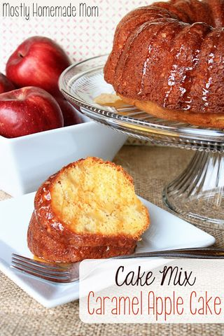 Cake Mix Caramel Apple Cake from Mostly Homemade Mom | Gooseberry Patch Recipe Round Up