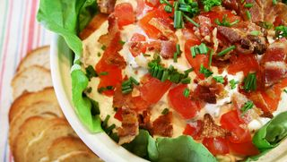 Super-easy recipe for Creamy BLT Dip from 101 Homestyle Favorites cookbook | In the Kitchen with Vickie & Jo Ann of Gooseberry Patch