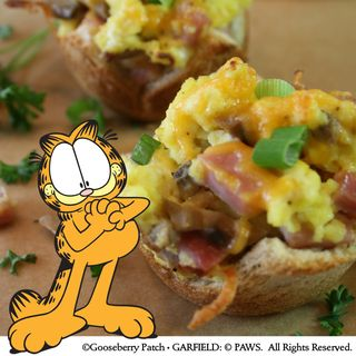 Scrambled Egg Toast Cups Recipe from Garfield...Recipes with Cattitude! | Brand New Gooseberry Patch Cookbook