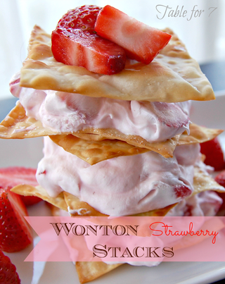 Wonton Strawberry Stacks from Our Table for Seven | Gooseberry Patch Recipe Round Up