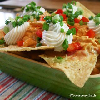 Slow Cooker Buffalo Chicken Nachos from Game Day Fan Fare, a cookbook from Gooseberry Patch