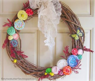 Ribbon Rosette Spring Wreath from My Two Butterflies   Featured in Gooseberry Patch Fresh Picked Inspiration slideshow