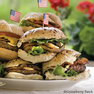 Gooseberry Patch Smokey Bacon-Gouda Burgers Recipe
