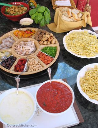 Pasta Bar from Big Red Kitchen | Featured in Backyard Bar Party Ideas from Gooseberry Patch