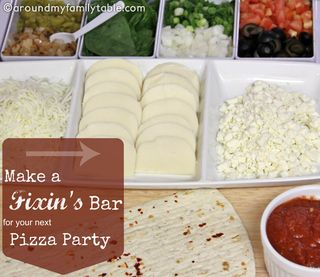 Pizza Fixin's Bar from Around My Family Table | Featured in Backyard Bar Party Ideas from Gooseberry Patch