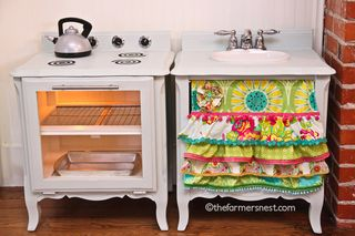 Upcycled Play Kitchen from The Farmers Nest | Featured in Upcycled Flea Market Finds from Gooseberry Patch