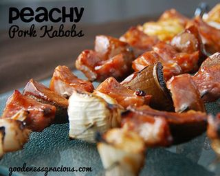 Peachy Pork Kabobs by Goodeness Gracious | Featured in 8 Easy Summertime Kabob Recipes from Gooseberry Patch