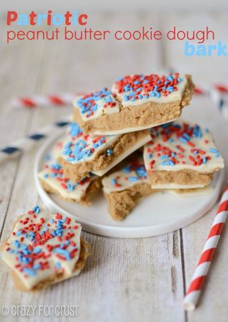Red, White & Blue Desserts: Peanut Butter Cookie Dough Bark from Crazy for Crust | Gooseberry Patch slideshow