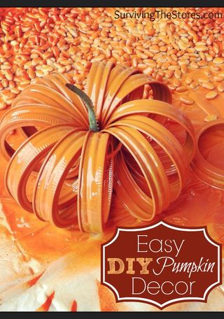 Mason Jar Lid Pumpkin from Surviving the Stores   Featured Fall Decorating Idea from Gooseberry Patch