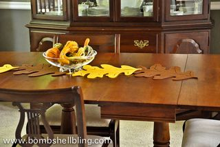 Felt Leaf Table Runner from Bombshell Bling | Featured Fall Decorating Idea from Gooseberry Patch