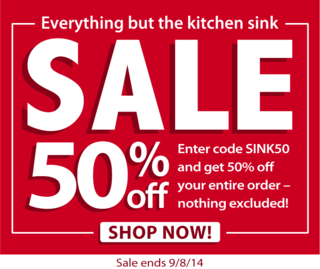 Enter SINK50 when you check-out and save 50% off your entire order from Gooseberry Patch!