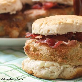 Fried Green Tomato Biscuits from 101 Farmhouse Favorites, a Gooseberry Patch cookbook