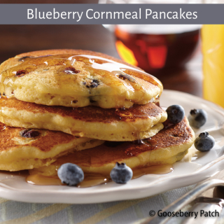 Blueberry Cornmeal Pancakes from Healthy, Happy, Homemade Meals